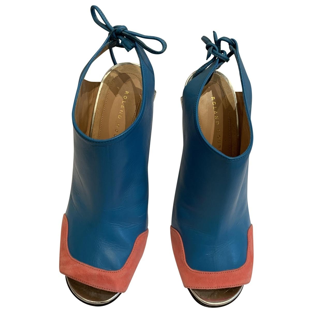 Roland Mouret \N Blue Leather Heels for Women 38.5 EU