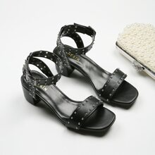 Studded Decor Ankle Strap Chunky Heeled Sandals