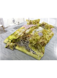 Leopard Looking at the Sky Wear-resistant Breathable High Quality 60s Cotton 4-Piece 3D Bedding Sets