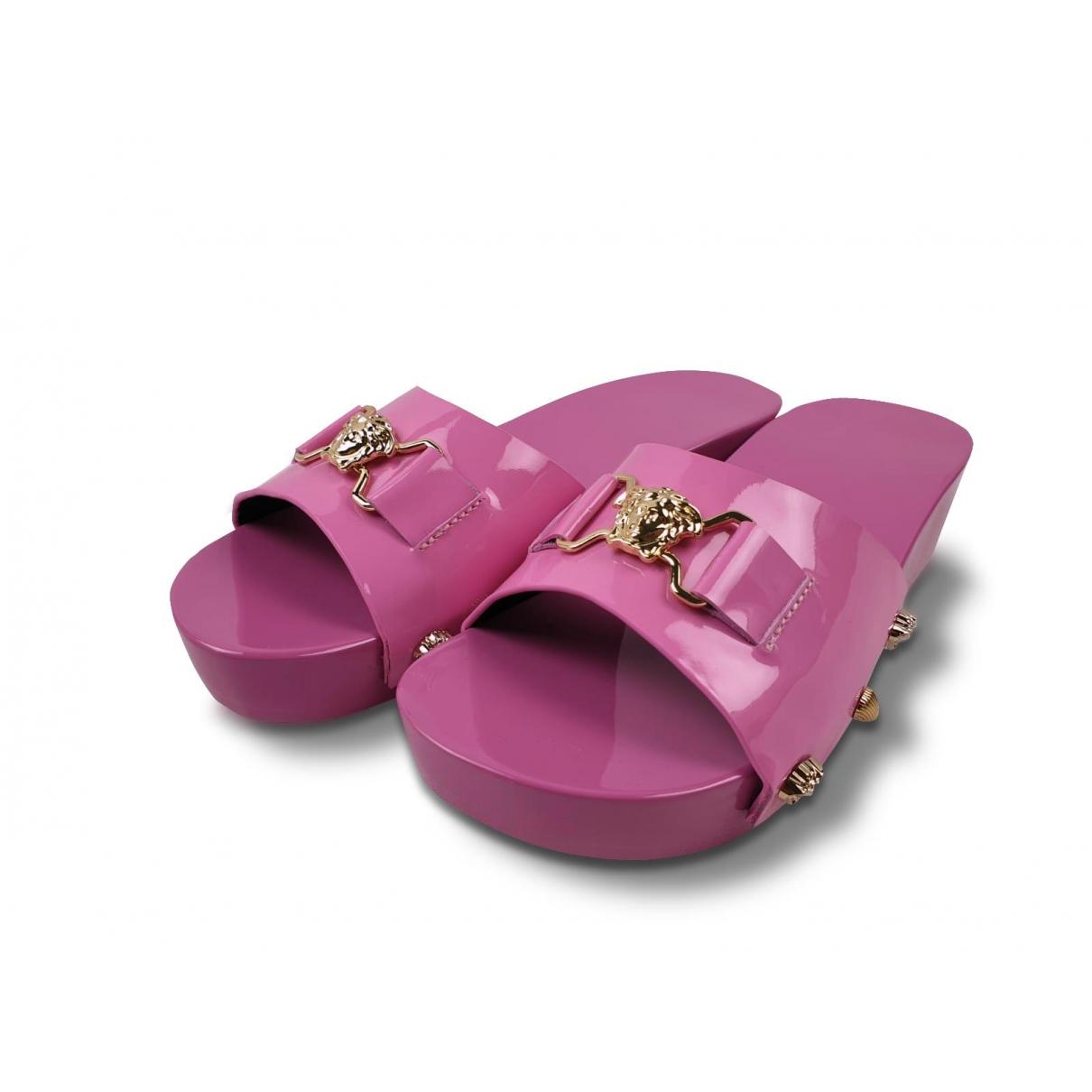 Versace - Sandales   pour enfant en cuir verni - rose