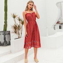 Slip Kleid mit Raffungsaum, Selbstguertel und Bluemchen Muster