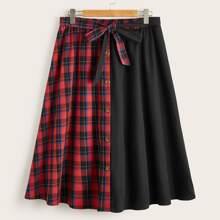 Plus Tie Front Button Detail Plaid Spliced Skirt