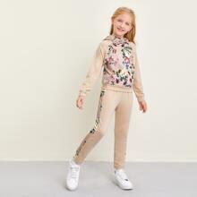 Girls Floral Print Hoodie & Sweatpants Set