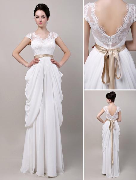 Milanoo V Open Back Bow Sleeve Lace Bodice Chiffon Wedding Dress With Satin Sash