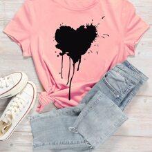 Grosse Grossen - T-Shirt mit Herzen und Tropfen Muster