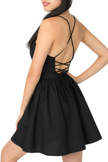 Yoins Black Open Back Cami Dress
