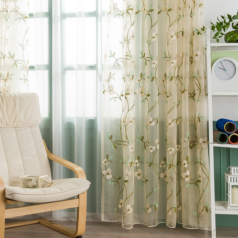 Pastoral Floral Embroidered Breathable Custom Living Room Bedroom Sheer Curtains No Pilling No Fading No off-lining