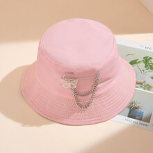 Plated Butterfly Chain Brooch Dual-Function Bucket Hat
