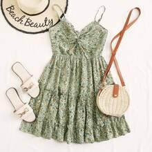 Cami Kleid mit Twist vorn, Falten und Blumen