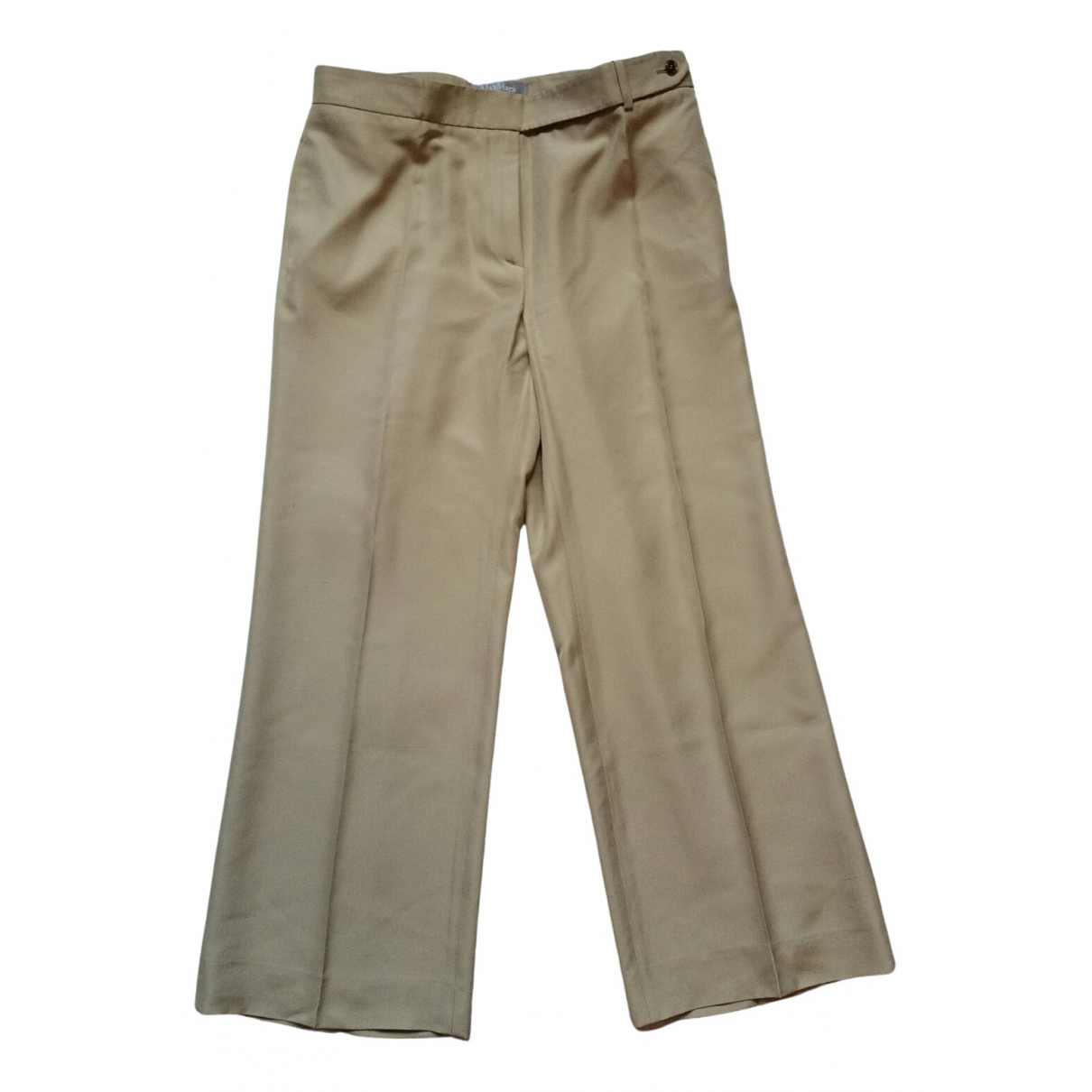 Max Mara N Camel Silk Trousers for Women 48 IT