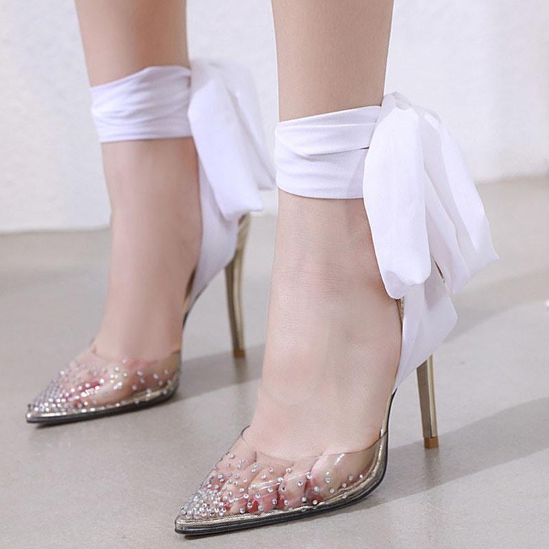 Ericdress Pointed Toe Rhinestone Stiletto Heel Banquet Thin Shoes