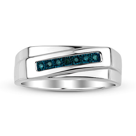 Mens Color-Enhanced Blue Diamond Accent Sterling Silver Ring, 11 , No Color Family