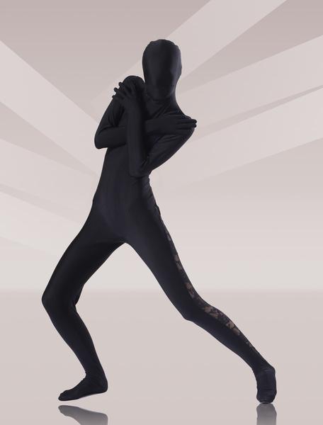 Milanoo Disfraz Halloween Zentai unisex de elastano de marca LYCRA de color negro  Halloween