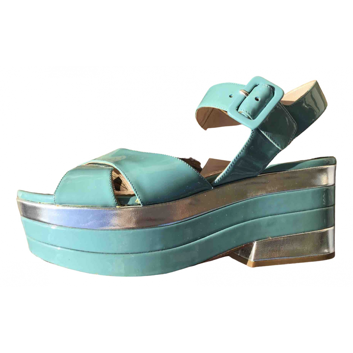 Miu Miu - Sandales   pour femme en cuir verni - turquoise