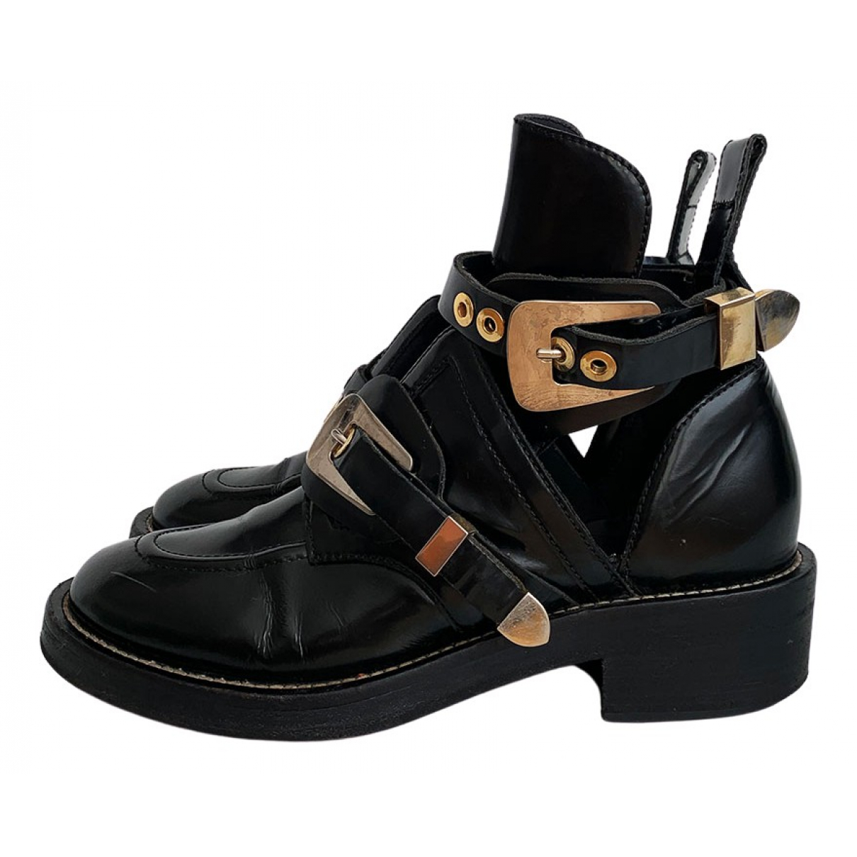 Balenciaga Ceinture Black Leather Ankle boots for Women 40.5 EU