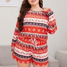 Schlafanzug Set mit Weihnachten Muster und Knoten