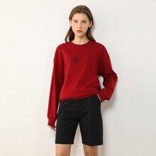 AMII Floral & Letter Embroidered Drop Shoulder Sweatshirt