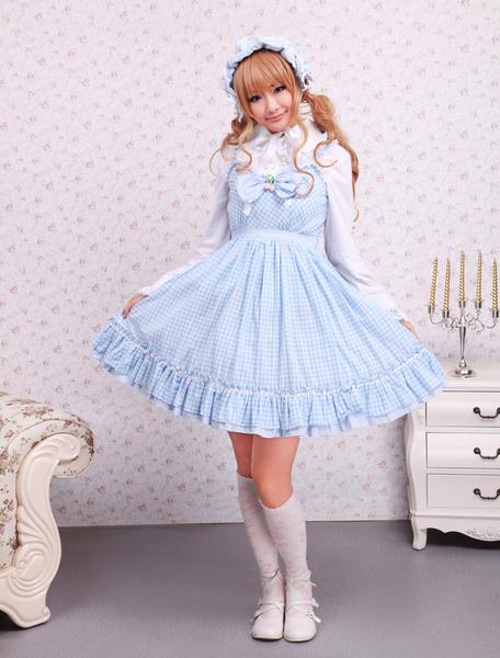 Milanoo Vestido de lolita de algodon y de encaje de estilo dulce