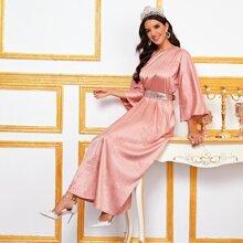Floral Jacquard Contrast Sequin Belted Dress