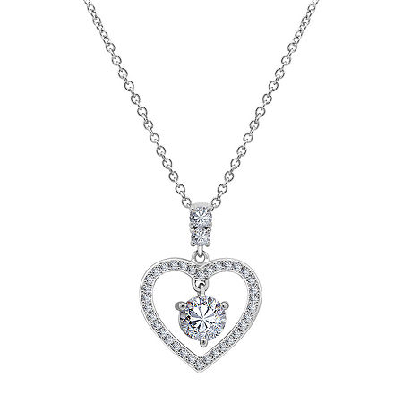 Womens 3/4 CT. T.W. White Cubic Zirconia Sterling Silver Heart Pendant Necklace, One Size , No Color Family