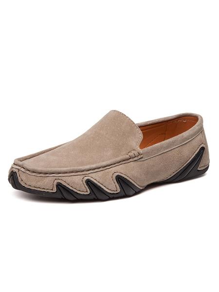 Milanoo Mocasines para hombre Mocasines Slip-On Round Toe Suede Driving Shoes