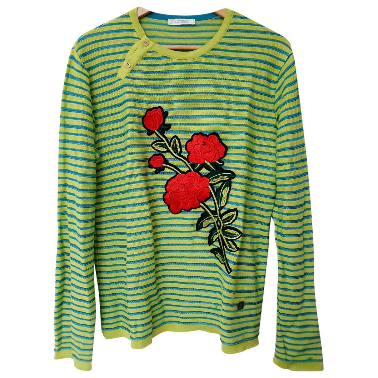 Versace - Pull   pour femme en coton - vert