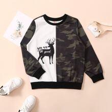 Boys Reindeer And Camo Print Colorblock Sweatshirt