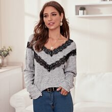 Eyelash Lace Trim Heathered Gray Sweater