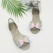 Transparente Sandalen mit Glitzer und Schleife Dekor
