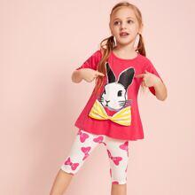Kleinkind Maedchen T-Shirt mit Hase Muster, Schleife und Hose