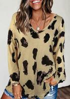 Leopard Long Sleeve T-Shirt Tee - Khaki
