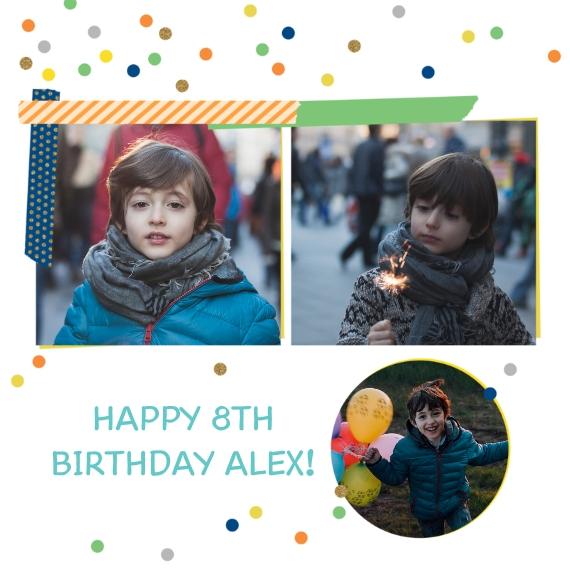 Kids Birthday Party Invites 5x5 Flat Card Set, 85lb, Card & Stationery -Birthday Unwrapped, Boy