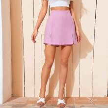 Violett  Reissverschluss  Einfarbig Laessig Shorts
