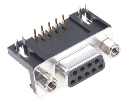 ASSMANN WSW A-DF Series, 9 Way Right Angle Through Hole PCB D-sub Connector Socket, 2.77mm Pitch, with 4-40 UNC