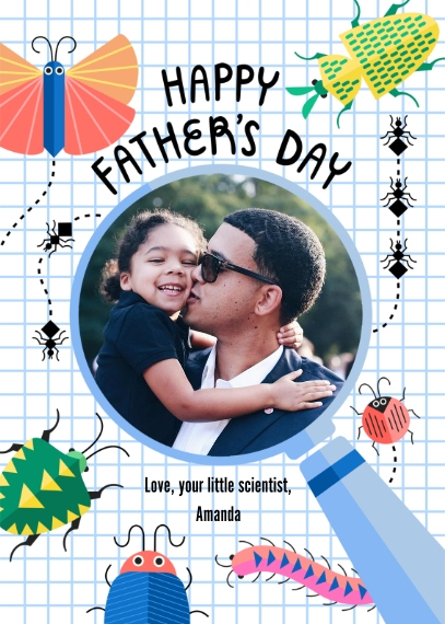 Father's Day Mail-for-Me Premium 5x7 Folded Card , Card & Stationery -Intersecting Insects