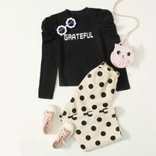 Girls Gigot Sleeve Letter Graphic Tee & Polka Dot Pants Set