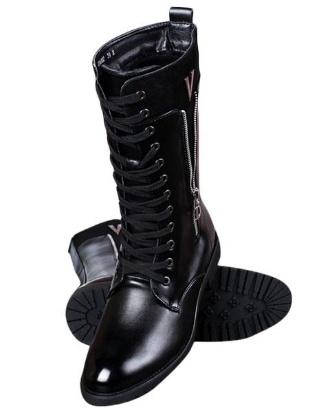 Milanoo Black señalo Toe ATA para arriba de PU botas de hombres