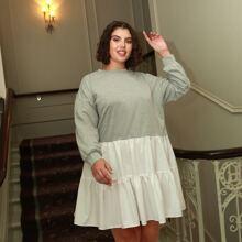 Sweatshirt Kleid mit sehr tief angesetzter Schulterpartie, Kontrast, Schosschen am Saum und Mischgewebe