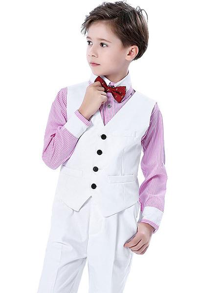 Milanoo Anillo trajes de algodon de manga larga chaleco de la camisa pantalones Cravat blanco trajes de fiesta formal para niños 4 unids