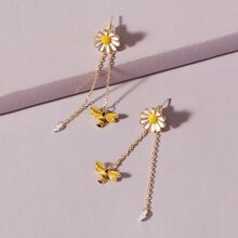 1pair Bee & Daisy Decor Drop Earrings