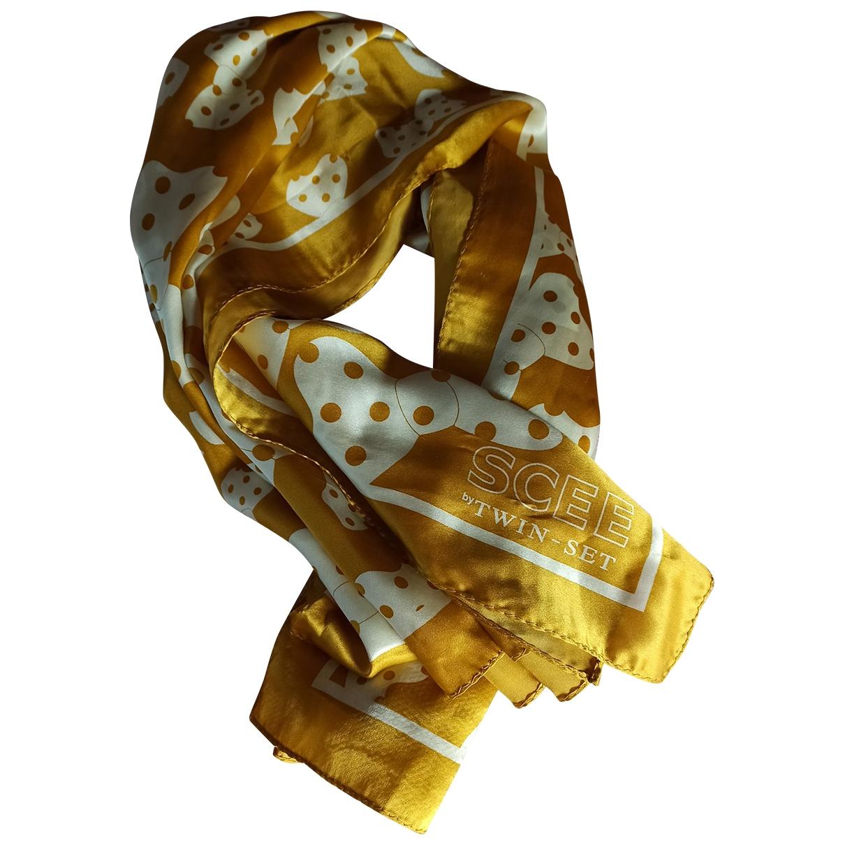 Twin Set - Foulard   pour femme en soie - jaune