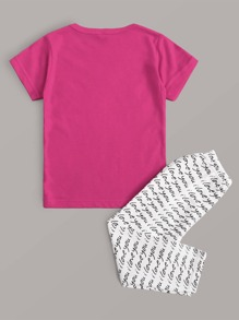 Baby Girl Letter Graphic Tee With Pants