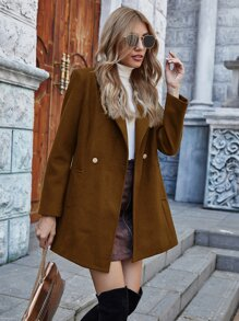 Solid Lapel Collar Slant Pocket Pea Coat
