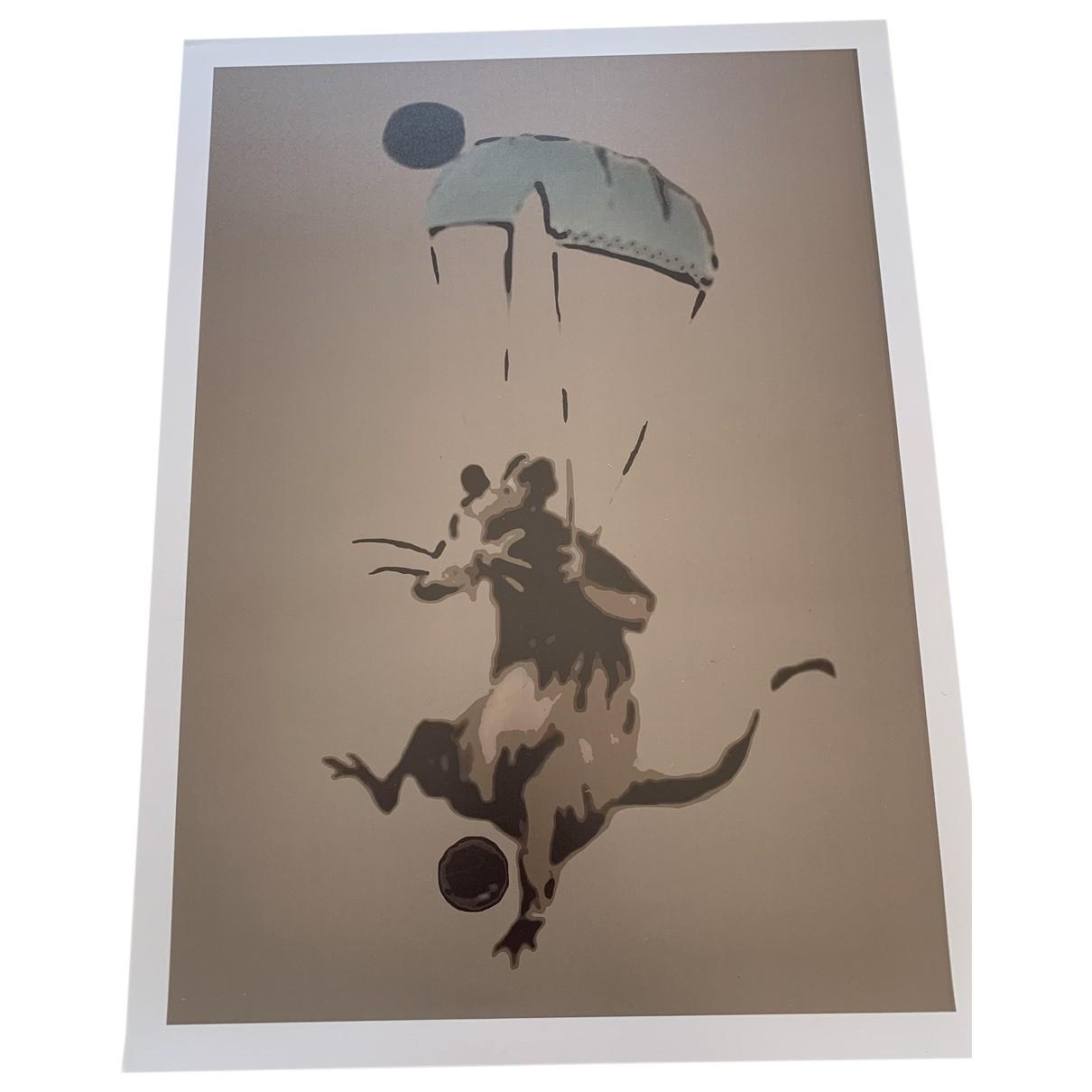 Banksy - Photographie   pour lifestyle en coton - beige