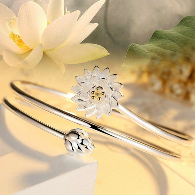 Ethnic Lotus Charm Bangle Bracelets for Women Vintage White Gold Plated Multilayer Womens Bracelets