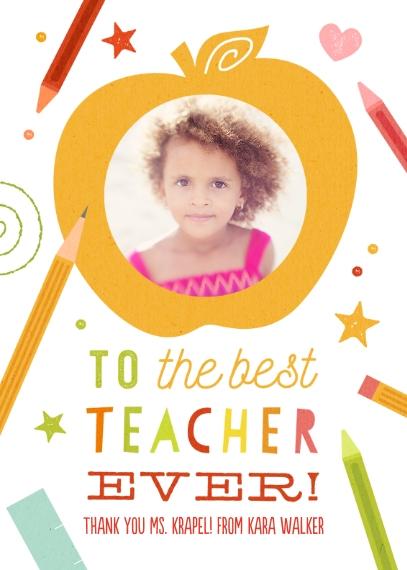 Kids Thank You Cards 5x7 Folded Cards, Standard Cardstock 85lb, Card & Stationery -Best Teacher Ever
