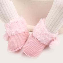 Baby Girls Fluffy Boots With Pom Pom