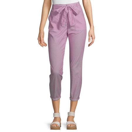 Liz Claiborne Belted Cropped Pants, 12 , Pink
