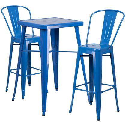 CH31330B Collection CH-31330B-2-30GB-BL-GG 3 Piece Indoor-Outdoor Bar Table Set with Curved Back Vertical Slat Chair  Footrest Support  Powder Coat