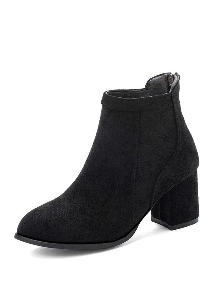 Women Suede Almond Toe Back Zipper Chunky Heel Ankle Boots